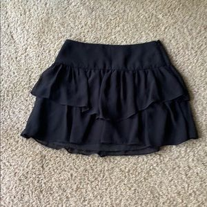 NWT $78 BCBG black ruffle mini skirt size small